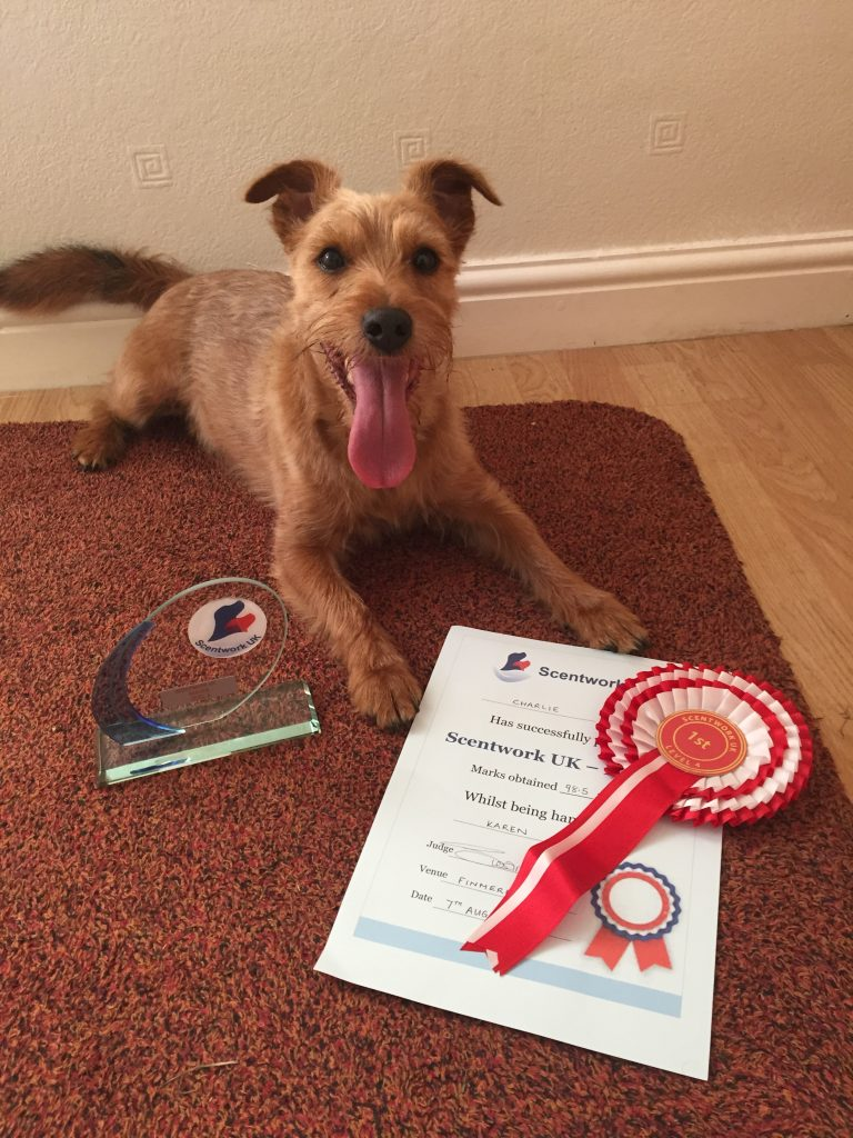 Charlie with certificate
